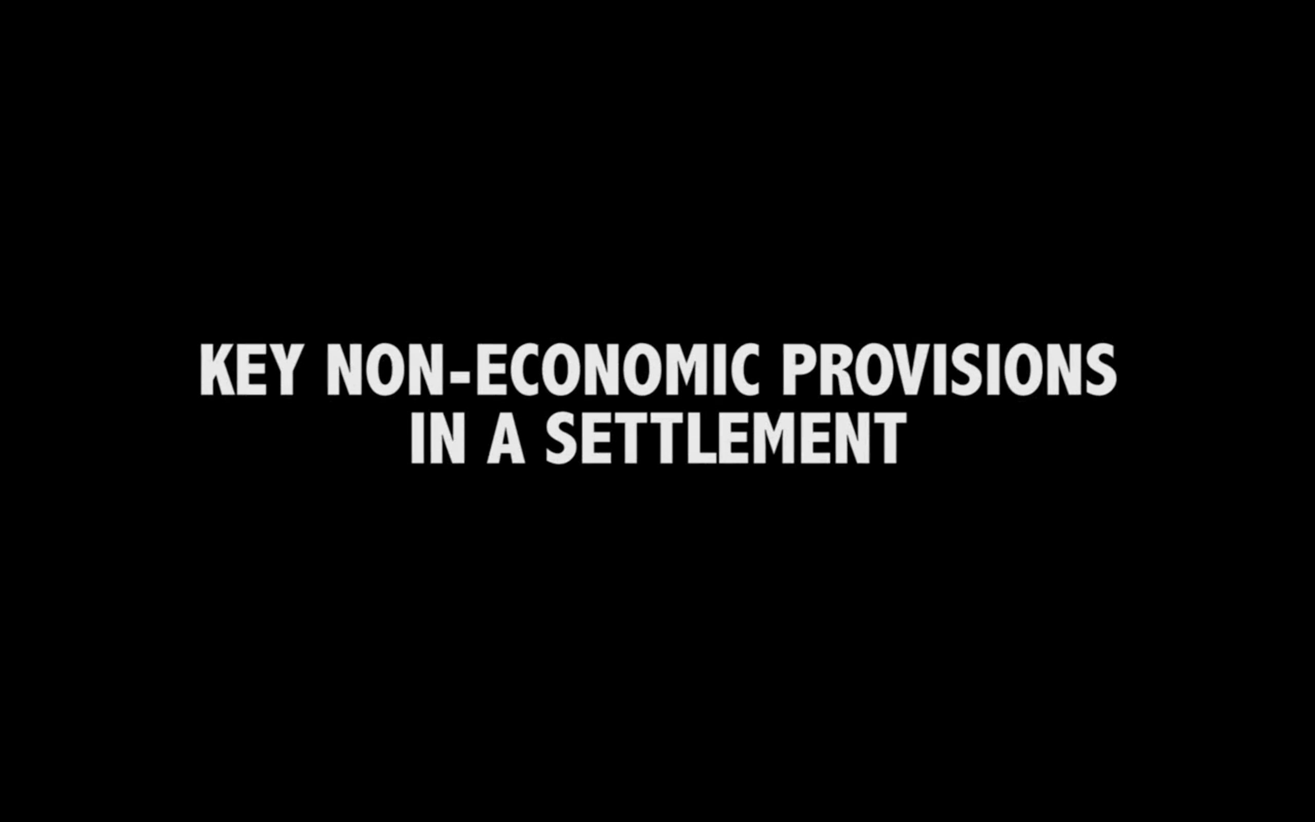 Non-economic Provisions